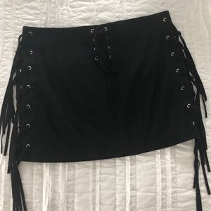 Zara suede black lace up skirt